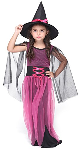 Girlscos Girl's Witch Costume Dress 2 Piece Suit Kids Halloween Cosplay Costumes X-Large Pink (Cute Halloween Costumes For Two Kids)