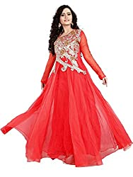 BK ENTERPRISE Women's Red Net Attractive Gown(bk-5010_freesize)