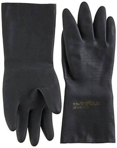 Ansell Extra 87-950 Guanti in lattice di gomma naturale, protezione contro le sostanze e i liquidi, colore: nero (Confezione da 1 paio), 9.5-10, nero, 1