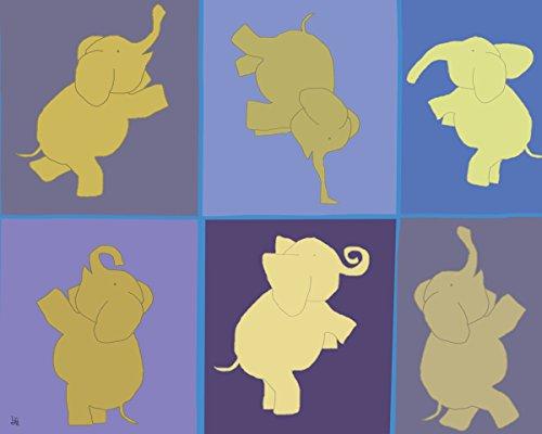 Green Leaf Art Yoga Elephants Canvas Art