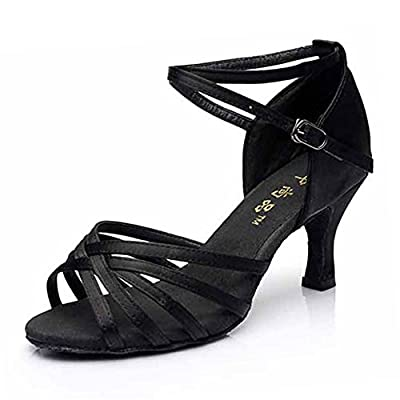 Hot-Selling Brand New Latin Dance Shoes High Heel for Ladies/Girls/Women/Ballroom Tango Shoes 7cm-Knotted Black,8