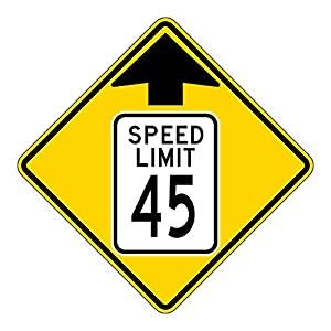 MUTCD W3-5 Speed Limit 45 Reduced Speed Limit Sign, 3M Reflective Sheeting, Highest Gauge Aluminum,Laminated, UV Protected, Made in U.S.A