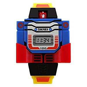 Unisex Cartoon 3D Robot Watches Digital LED Watch for Child's Students Watch Boys and Girls Outdoor Sports Watch Christmas Gift Watch (Yellow)