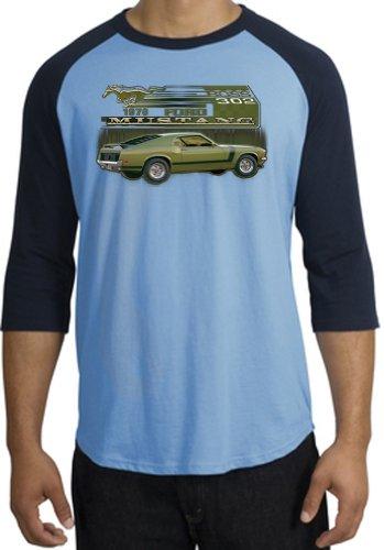 Ford Car 1970 Mustang Boss 302 Classic Adult Raglan T-Shirt Tee - Carolina Blue/Navy, 4Xl
