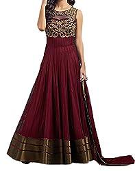 Sky Global Women's Dress Material Boat Neck Coppar Maroon Dress (SKY_Dress_216)