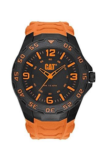 Cat Men's Quartz Watch with Black Dial Analogue Display and Orange Rubber Strap LB.111.24.134