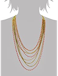 Fashion Infinite Orange Multi Strand Glass Beads & Chain Necklace For Women