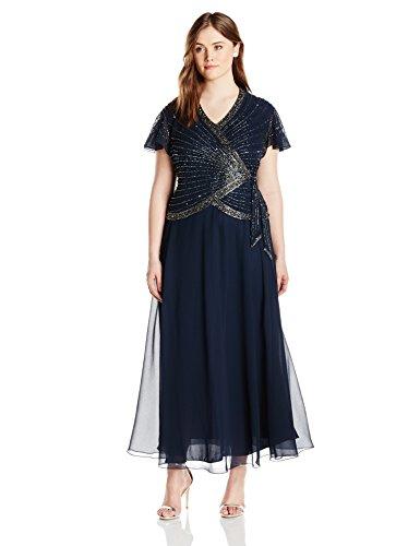 J Kara Women's Plus-Size Faux Wrap Long Dress
