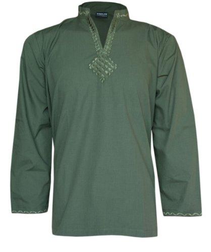 Ladies Indian Embroidered Long Sleeve Kurta-Kurti Tops Green MK355302-FREE SHIPPING