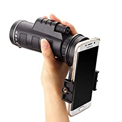 Universal 10x40 Telephoto Lens Cell Phone Telescope, M.Way Hiking Concert Camera Lens Monocular+ Universal bracket + Bag For Iphone Sony Samsung Moto Etc Universal clip