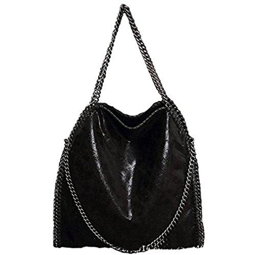 Hosiare 1X Le donne annata della borsa del cuoio del sacchetto di spalla del Tote della cartella,nero