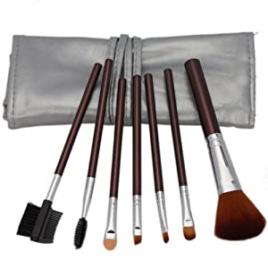Professional 7 Pcs Makeup Make up Cosmetic Brushes Set Kit Eyeshadow Eyelash Eyebrow Lip Powder Blush Face Brush with Silver Bag Case Pouch