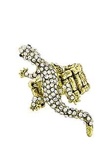 buy Karmas Canvas Rhinestone Embedded Lizard Stretch Ring (Antique Gold)