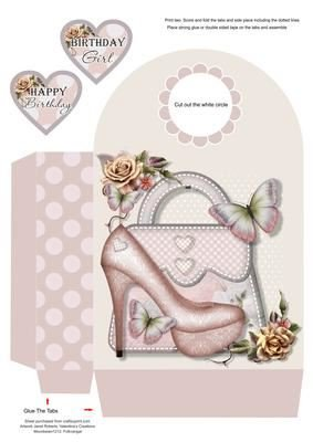 & Borsetta rosa, grande borsa regalo by Janet Roberts