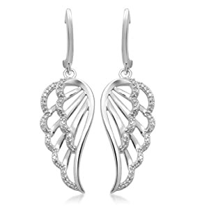 10k White Gold Angel Wings Diamond Dangle Earrings (1/5 cttw, I-J Color, I2-I3 Clarity)