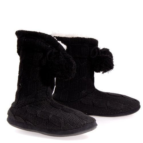Cheap Celia Knitty Black Casual Slippers Hanging Low Shoes Womens (KNITTY BLK W)