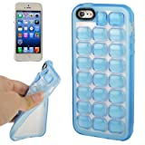Fone-Stuff Bubble Wrap Embossed Quadrille Effect Style Designer Florescent Effect See through Gel Cover Case for Apple iPhone 5 5S 16GB 32GB 64GB in Baby Blue