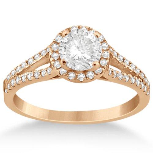 Classic Angels Halo Split Shank Diamond Engagement Ring 14K Rose Gold Micro Pave Setting (0.43Ct)