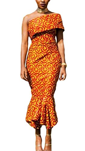 Annflat-Womens-African-Print-Ruffles-One-Shoulder-Mermaid-Formal-Prom-Dress