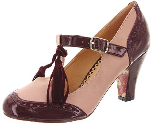 Dancing Days - Scarpe con cinturino alla caviglia Donna , Rosa (Burgundy-Blush), 38