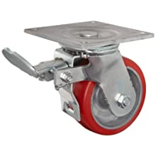 E.R. Wagner Plate Caster, Swivel with Total-Lock Brake, Polyurethane on Aluminum Wheel