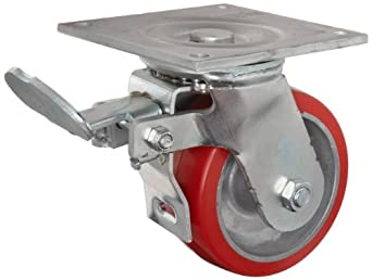 "E.R. Wagner Plate Caster, Swivel with Total-Lock Brake, Polyurethane on Aluminum Wheel, Roller Bearing, 1200 lbs Capacity, 6"" Wheel Dia, 2"" Wheel Width, 7-1/2"" Mount Height, 4-1/2"" Plate Length, 4"" Plate Width"