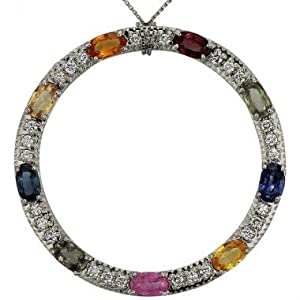 Sapphire Diamond Circle Pendant With 3.30cts Sapphires And Diamonds In 10K White Gold Diamond And Sapphire Pendant
