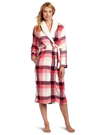 Dearfoams Women's Sherpa Shawl Printed Long Robe, Pink Fireplace Plaid, Small