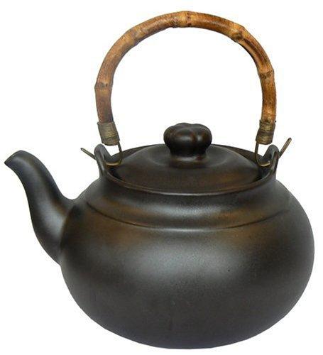 Joyce Chen 2 Quart Ceramic Tea Kettle with Bamboo Handle, Ebony