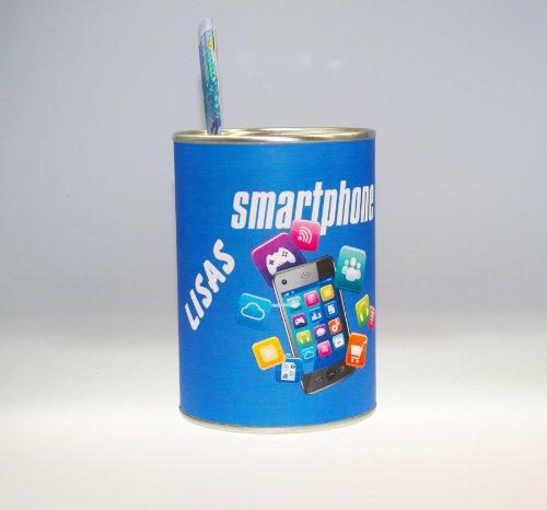 "Spardose ""Smartphone"" - Individualisierbar mit Namen - Design Konserve"
