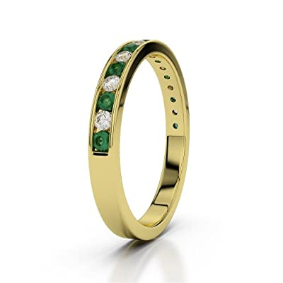 9 KT Yellow Gold Emerald & Diamond Half Eternity Ring AGDR-1090-IH