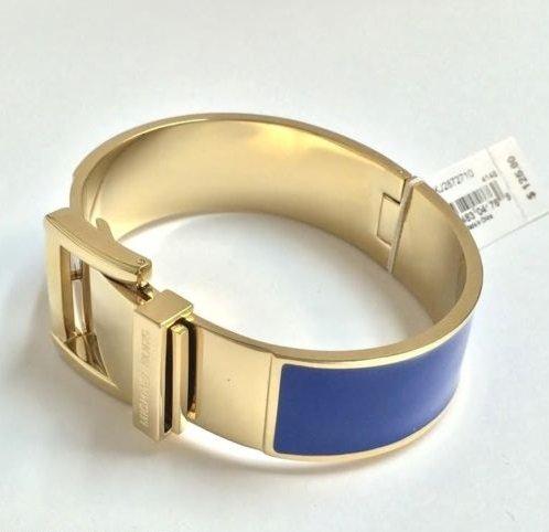 Michael Kors Mkj2872 Women'S Buckle Bangle Bracelet - Blue Enamel On Golden Steel