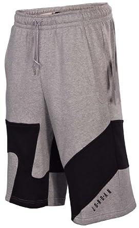 Jordan Mens Nike Jumpman Action Shot Fleece Shorts-Heather Gray Black by Jordan