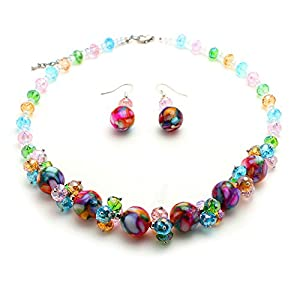 Central World Multicolor Mosaic Marble and Crystal Cluster Jewelry Set-403HSET