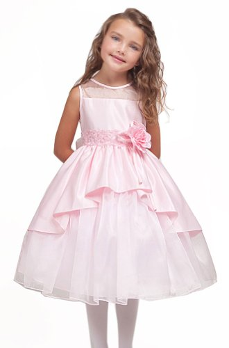 Kid Collection Girls Pink Flower Girl Pageant Dress Size 4