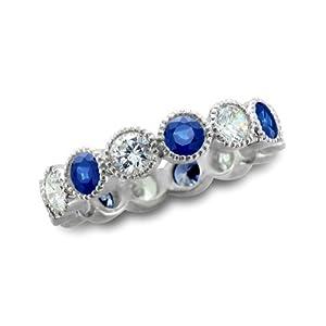 Natural Sapphire Diamond Eternity Ring in Milgrain 14k White Gold Bezel Set Band (G, SI2, 1.85 cttw), Certified