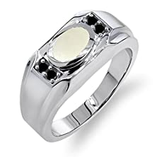buy 1.18 Ct Oval Cabouchon White Opal Black Diamond 925 Sterling Silver Men'S Ring