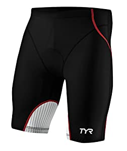 TYR Men's Carbon Tri Short: Black/Red; XS