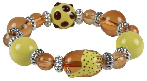 Brown and Yellow Hand-Painted Giraffe Kids Stretch Bracelet