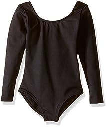 Capezio Big Girls\' Team Basic Long Sleeve Leotard, Black, Medium (8-10)