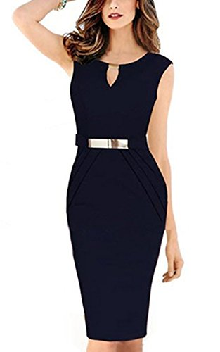 Babyonline Women Sexy Sleeveless Wear to Work Office Business Pencil Dress