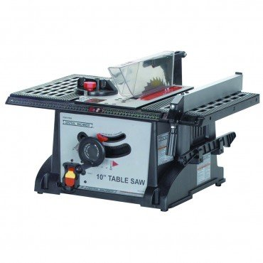 10 inch 15 Amp Industrial Bench Table Saw with blade wrench, miter gauge, push-stick, and rip fence