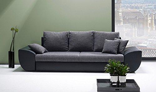 Big Sofa mit Schlaffunktion und Bettkasten in schwarz/grau. Rückenecht bezogen mit Wellenfederpolsterung, Maße: B/H/T ca. 272/90/96 cm thumbnail