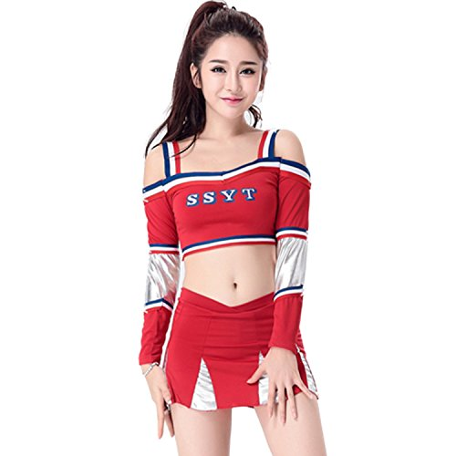 [BeautyXTP Women's Cheerleader Costume Outfit Football Sport Fancy Dress Uniform (M, Red)] (Cheerleader Outfit For Sale)
