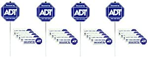 4 Authentic ADT Security Sign with 20 Double Sided Stickers