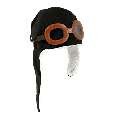 Sealike Cool Pilot Aviator Fleece Hat Cap with Earmuffs with a Stylus(Black)
