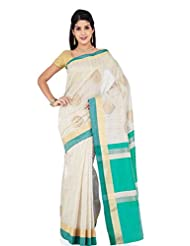 Kuberan Women's Party Wear Cotton Saree ( Cream And Mint Green )