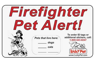 "Firefighter Pet Alert Stickers - 3M Reflective 3"" x 5"" Stickers - Set of 2 Stickers"