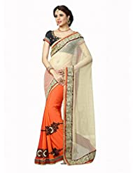 Admyrin Women's Orange And Off-White Net Bemberg Georgette Embroidered Saree