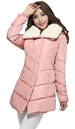 Huangjie Women'S Slim Fit Faux Fur Collar Puffer Mid-Length Coat 3Xl Pink